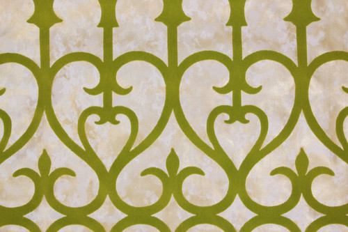 1970s Vintage Wallpaper Green Flocked Grillwork