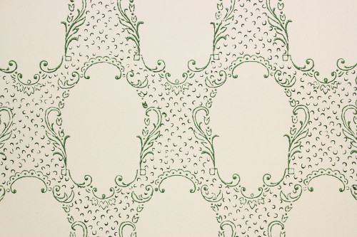 1960s Vintage Wallpaper Green Lace Design