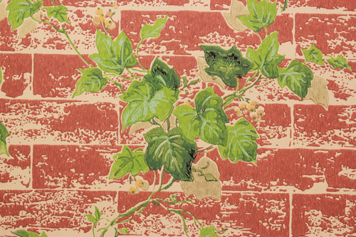 1970s Vintage Wallpaper Ivy on Brick