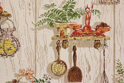 1970s Vintage Wallpaper Orange Kitchen Kitsch