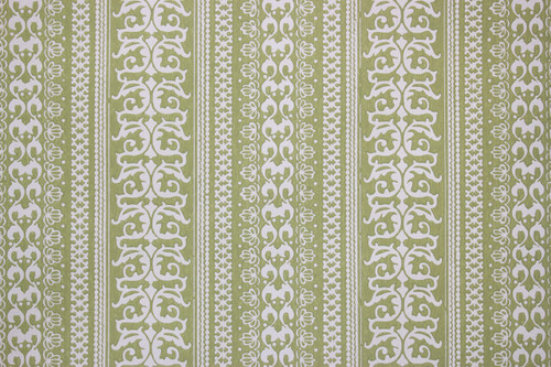 1970s Vintage Wallpaper White Stripe Pattern on Green
