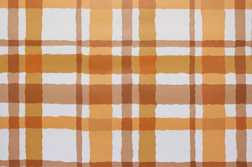 1970s Vintage Wallpaper Orange and Brown Plaid Vinyl