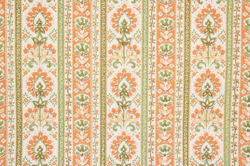 1970s Vintage Wallpaper Orange Floral