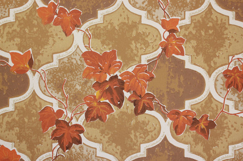 1970s Vintage Wallpaper Orange Ivy