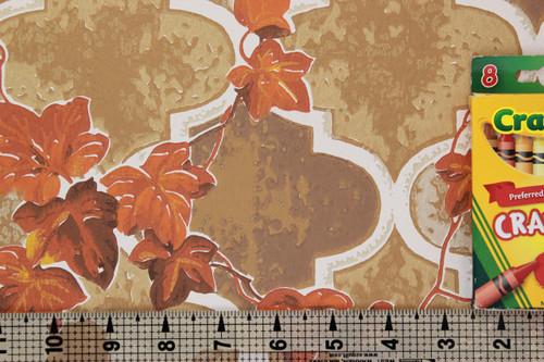 1970s Vintage Wallpaper Orange Ivy