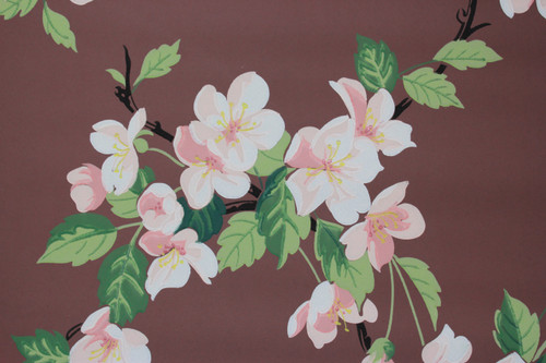 1950s Vintage Wallpaper Pink and White Magnolia