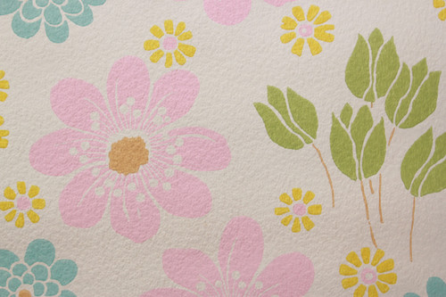 1970s Vintage Wallpaper Pink Blue and Yellow Flowers