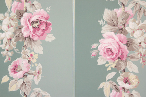 1950s Vintage Wallpaper Pink Roses on Green