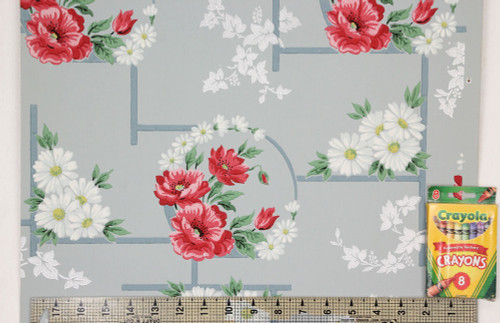 1940s Vintage Wallpaper Red Flowers Daisies on Blue