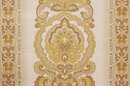 1970s Vintage Wallpaper Retro Yellow Damask