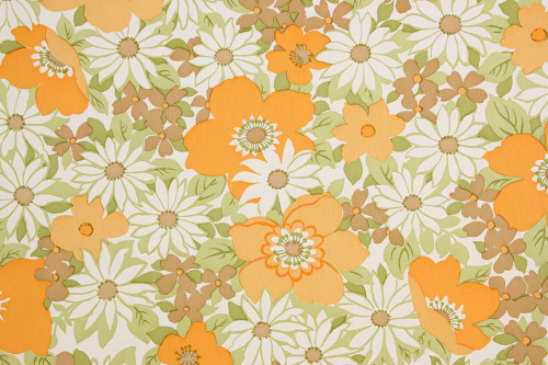 1970s Vintage Wallpaper Retro Orange Flowers