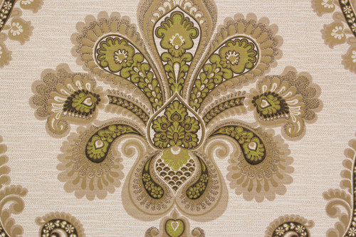 1970s Vintage Wallpaper Retro Large Green Damask