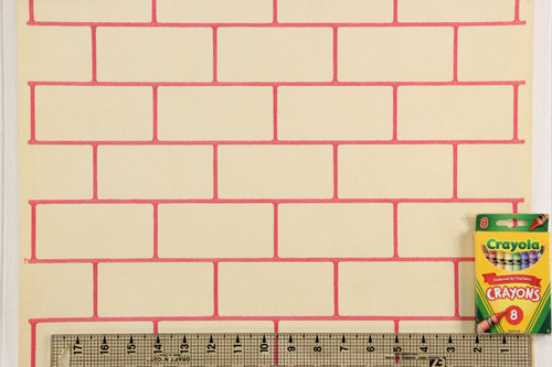 1930s Vintage Wallpaper Faux Red Subway Tile