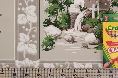 1950s Vintage Wallpaper Watermill Scenic