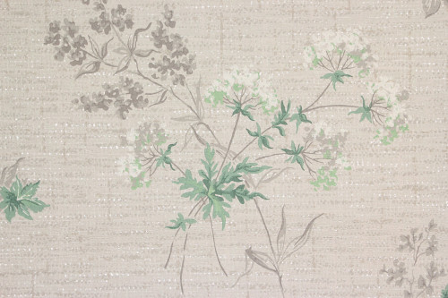 1940s Vintage Wallpaper White Flowers on Gray