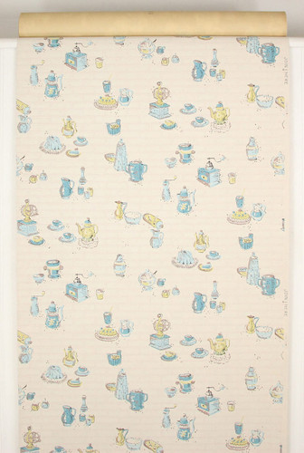1940s Vintage Wallpaper Yellow and Blue Kitchen