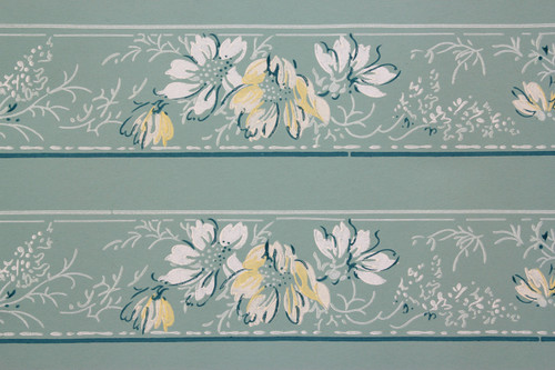 1940s Vintage Wallpaper Border White and Yellow Flowers