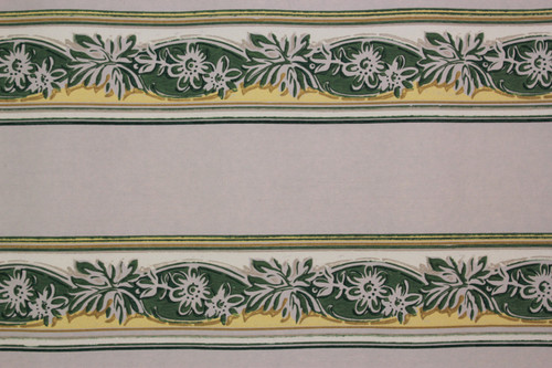 1940s Vintage Wallpaper Border Green and Yellow