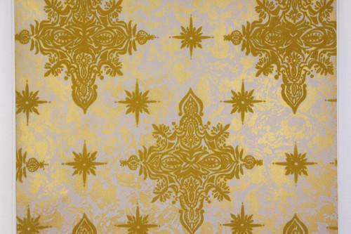 1970s Vintage Wallpaper Flocked Yellow Gold Starbursts