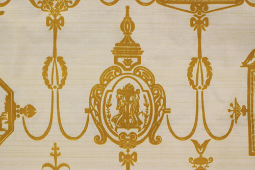 1970s Vintage Wallpaper Golden Yellow Flocked Victorian Design