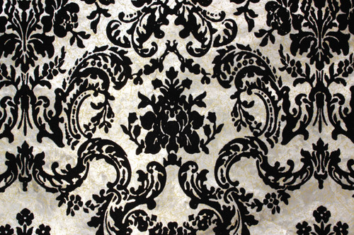 1970s Vintage Wallpaper Black Flocked Design with Roses