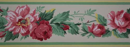 Trimz Vintage Wallpaper Border Rose Chintz