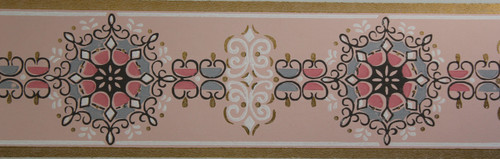 Trimz Vintage Wallpaper Border Retro Medallion Pink