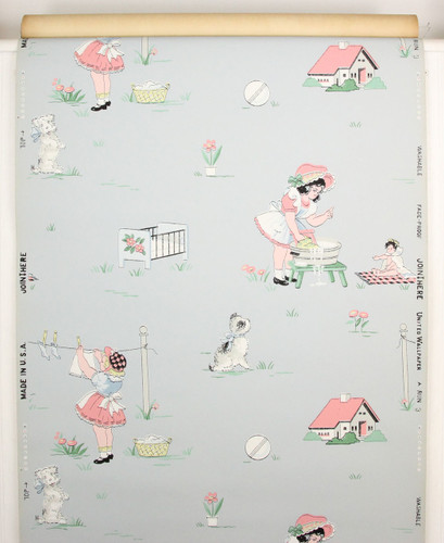 1940s Vintage Wallpaper Childrens Nursery on Blue