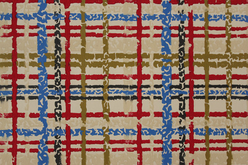 1970s Vintage Wallpaper Red Blue and Black Plaid