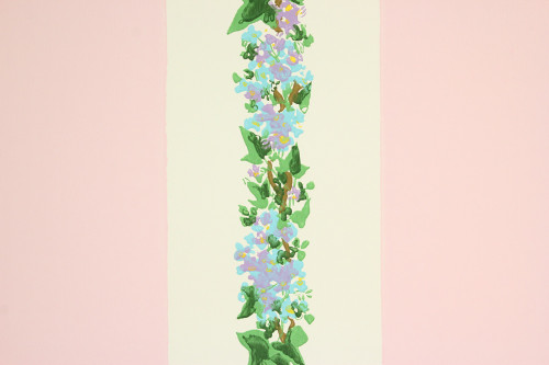 1950s Vintage Wallpaper Lilacs Pink Stripe Made in France