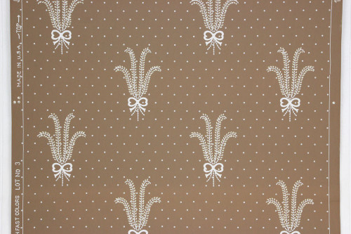 1940s Vintage Wallpaper Wheat Bows on Brown