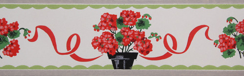 Trimz Vintage Wallpaper Border Potted Geranium