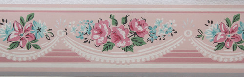 Trimz Vintage Wallpaper Border Rose Swag
