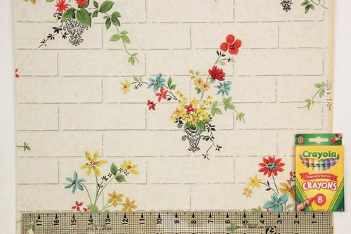 1930s Vintage Wallpaper Flower Bouquets on Tile