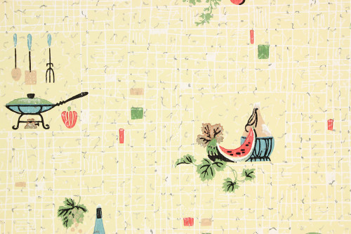 1940s Vintage Wallpaper Kitchen on Yellow