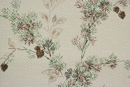 1950s Vintage Wallpaper Botanical Pine Tree Branch Cones