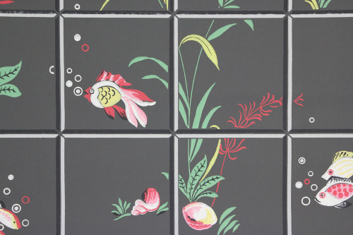 1940s Vintage Wallpaper Under the Sea on Black