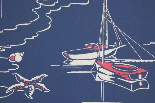 1950s Vintage Wallpaper Sailboats on Blue