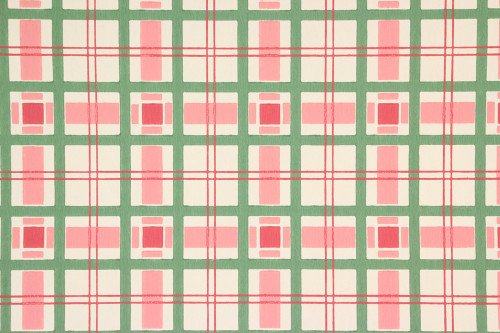 1950s Vintage Wallpaper Pink and Green Plaid