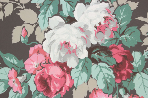 1950s Vintage Wallpaper Cabbage Rose Bouquet