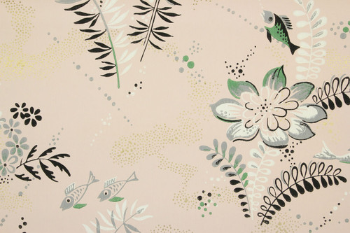 1940s Vintage Wallpaper Fish on Pink