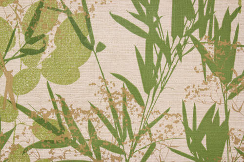 1970s Vintage Wallpaper Vinyl Green Cattails