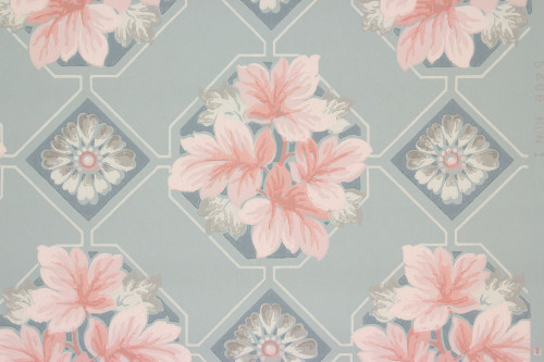 1940s Vintage Wallpaper Pink Leaves on Blue Tile
