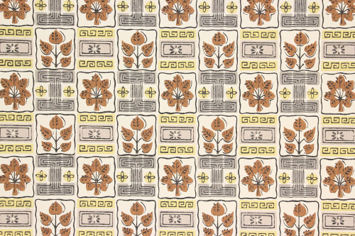 1950s Vintage Wallpaper Brown Leaf Yellow and Gray Geometric