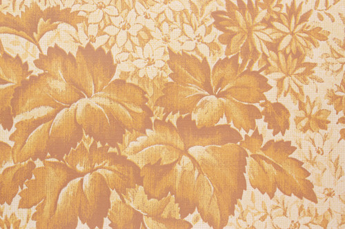 1970s Vintage Wallpaper Leaves and Flowers Golden
