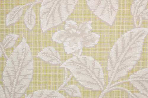 1940s Vintage Wallpaper White Flowers on Yellow Plaid