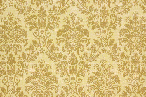 1960s Vintage Wallpaper Gold Brown Damask