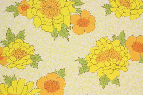 1970s Vintage Wallpaper Bright Yellow and Orange Flowers