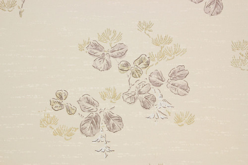 1950s Vintage Wallpaper Leaves Purple Flowers