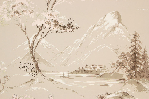 1950s Vintage Wallpaper Mountains on Beige